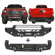 Hooke Road Front+rear Bumper Combo W/ Winch Plate,led Light Fit Tacoma 2016-2021
