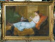 Hand Painted Old Master-art Antique Oil Painting Noblewoman On Canvas 30x40