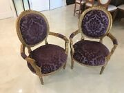 Pair Vintage Exquisite Antique Victorian Parlor Chairs In Gold 1800and039s Louie Xiv