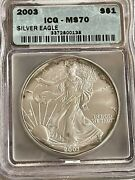 2003 1oz Silver American Eagle Icg Ms70 With Light Toning 138