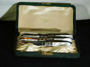 Antique Stieff Co.sterling Silver-mother Of Pearl Complete Knife Set W/case