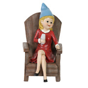8 In. X 11 In. Solar Good Time Gal Drinking Wine Gnome Garden Statue