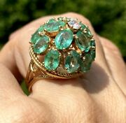 Huge 14k Yellow Gold Diamond Emerald Vintage Dome Scrolls Cocktail Ring Size 7.5