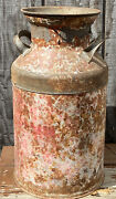 Antique Smaller Milk Can Painted Chippy Paint 19 Tall Superior On Handles Rusty