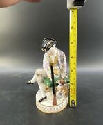 Fabulous Meissen Porelain Figure Of Young Man Holding A Gun Dog By His Side