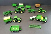 Lot Of 12 John Deere Farm Toys 164 Scale Ertl Tractors China + 2 For Parts