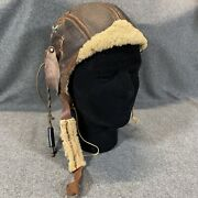 Wwii Us Army Air Force Type B-5 Pilots Leather Flying Helmet Aviator W/ Coms