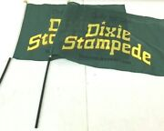 Lot Of 2 Dolly Parton's Dixie Stampede Dinner Attraction Green Flag 18x 11 1/2