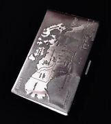 Vintage England Cigarette Case Brass Richmond .map Of Canada.50-60s The Century