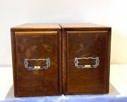 Antique Solid Oak Kenrick And Jefferson 2 Single Drawers Card Index Filing Cabinet
