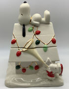 Snoopy's Christmas Cookie Jar By Lenox With Doghouse Lights Peanuts Woodstock