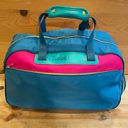 Vintage Tupperware Tote Duffle Bag With Leather Handle Pink Blue 80s Rare Euc