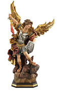 Statue Saint Michele Cm. 30 - In Wood Carved By Hand