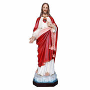 Statue Sacred Heart Of Jesus Cm 130 In Fibreglass With Eyes Of Glass