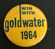 Win With Goldwater 1964 Campaign Button Political Pinback Lithograph 1 1/2 Htf