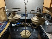 Rare Antique Brass Duel Oil Lamps With Duel Burners