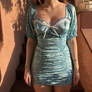 Vs For Love And Lemons Alana Ruched Blue Floral W/lace Trim And Bow Dress Nwt Med