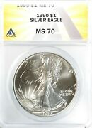 1990 American Silver Eagle 1 Gem Uncirculated Anacs Ms70