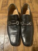 Vintage Menand039s Black Leather Shoes Silver Horse Loafers Us 8.5