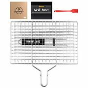 Cattlegrill Foldable Bbq Fish Grill Basket With 430 Stainless Steel Outdoor Use