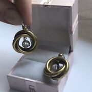Rare Vintage Silver 84 Gold Plated With Rhinestone Women Jewelry Earrings 6.7 Gr