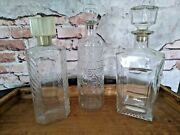 Vintage Lot Of 3 Clear Glass Decanters 11 Schenley Bourbon Whiskey