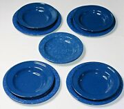 Blue Speckled Enamelware Graniteware 5 Bowls 4 Plates Camping Farmhouse Picnic
