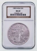 1989 1 Silver American Eagle Graded By Ngc As Ms-69