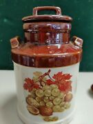 Mccoy Pottery 331 6 Brown Milk Bottle W/ Lid Grapes And Nuts