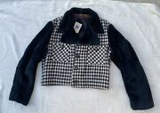 Vtg 70s Cropped Blk And White Houndstooth Fake Fur And Wool Disco Pimp Jacket M / L