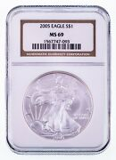 2005 1 Silver American Eagle Graded By Ngc As Ms-69