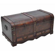 Vintage Large Wooden Treasure Chest Coffee Table - Brown