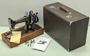 Singer Model 99k Portable Hand-crank Sewing Machine - 3/4 Size And Case - Excell
