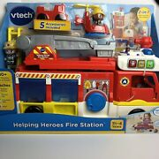 Vtech Helping Heroes Fire Station 2-in-1 Playset W/ Firefighters And Firetruck Nib