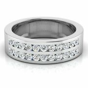 18k White Gold 0.88 Ct Real Diamond Wedding Menand039s Rings Size 8 9 10 Certified