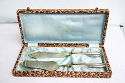 Antique Solid Silver 800 And Gold Plated Serving Set Knife And Cake Server