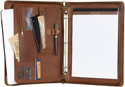 Leather Portfolio With 3-ring Binder, Zipper Padfolio For Standard, Brown