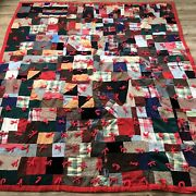 Vintage Crazy Quilt W Red Backing 65x 77 Wool Velvet Corduroy Red Tied