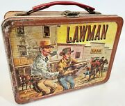 Antique 1960s Lawman Peter Brown John Russel Thermos Western Metal Lunch Box
