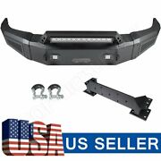 For Silverado 2500 2015-2017 Full Width Front Bumper W/ Winch Plate And Led Lights