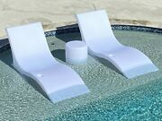 Luxury Lounger In-water Chaise Lounge Chair And Side Table Set For Pool Ledge