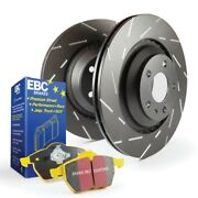 Ebc Yellowstuff Brake Pads And Slotted Rotors For 91-95 Volvo 940 Girling [front]