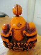 Antique Orange Cinnabar Lacquer Chinese Carved Snuff Opium Bottle Fish Lotus