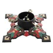 10 Reindeer Poinsettia Painted Cast Iron Christmas Tree Stand Vntg Style Decor