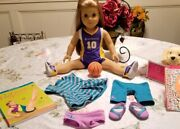 American Girl Mckenna Doll In Meet With Book Basket Ball Outfit And Dog Honey