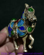 3.6 Old Chinese Cloisonne Silver Inlay Green Jade Gem Hose Success Sculpture