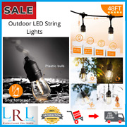 New Outdoor Edison String Lights Patio Led 48ft With Vintage Shatterproof Bulbs