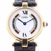 Must Vendome Sm Vermeil 120831 Watches Stainless Steel Leather Quart...