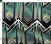 Emerald Vintage Green Blue Gold Geometric Art Spoonflower Fabric By The Yard