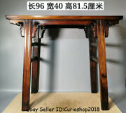 38.4 Huge Old China Dynasty Huanghuali Wood Inlay Shell Texts Beauty Table Desk